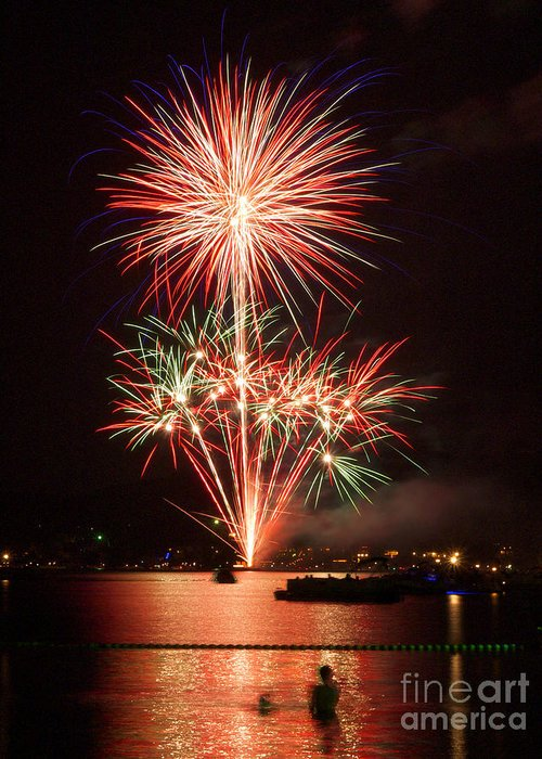 Fireworks Greeting Card featuring the photograph Wading View Of Fireworks by Mark Miller