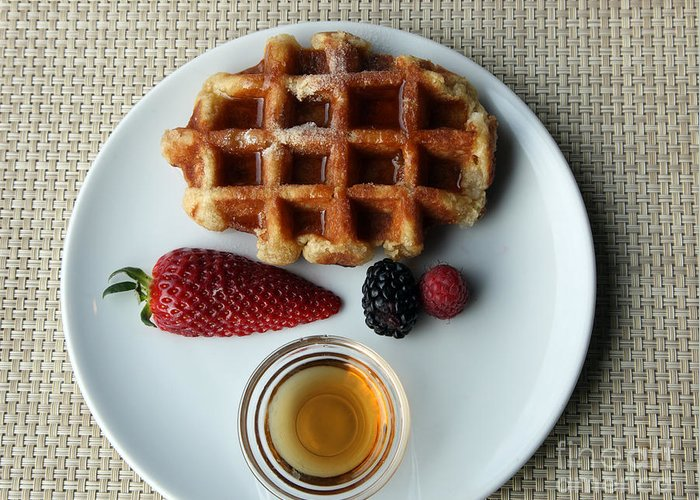 Waffles Greeting Card featuring the photograph Waffles And Maple Syrup by Ros Drinkwater