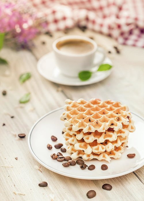 Breakfast Greeting Card featuring the photograph Waffles With Coffee by Da-kuk