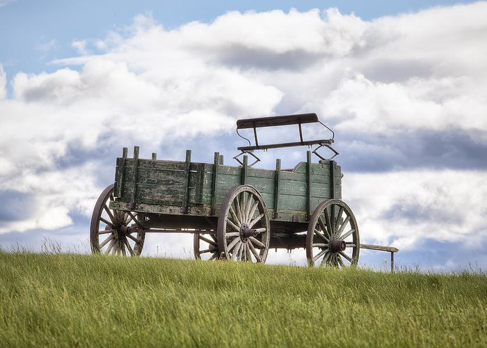 Wagon On A Hill Greeting Card featuring the photograph Wagon On A Hill by Eric Gendron
