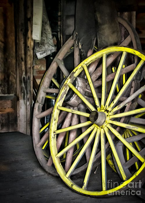 Wagon Wheels Greeting Card featuring the photograph Wagon Wheels by Colleen Kammerer