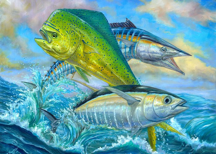 Mahi Mahi Greeting Card featuring the painting Wahoo Mahi Mahi And Tuna by Terry Fox