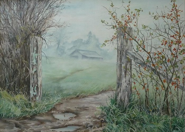 Landscape Greeting Card featuring the painting Waikato Fog. by Val Stokes
