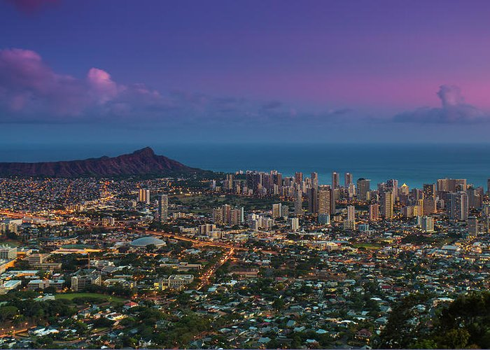 Tranquility Greeting Card featuring the photograph Waikiki And Diamond Head At Sunset by J. Andruckow