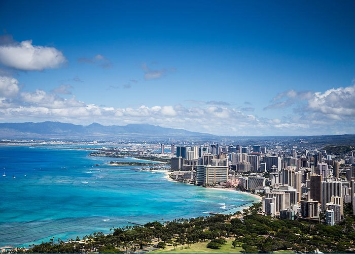 Waikiki Greeting Card featuring the photograph Waikiki Beach From Diamond Head by Casey Barnett