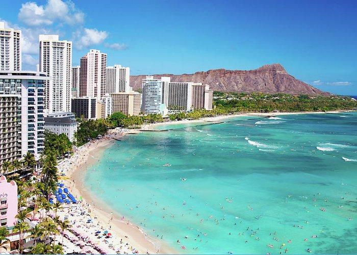 Water's Edge Greeting Card featuring the photograph Waikiki Beach by M Swiet Productions
