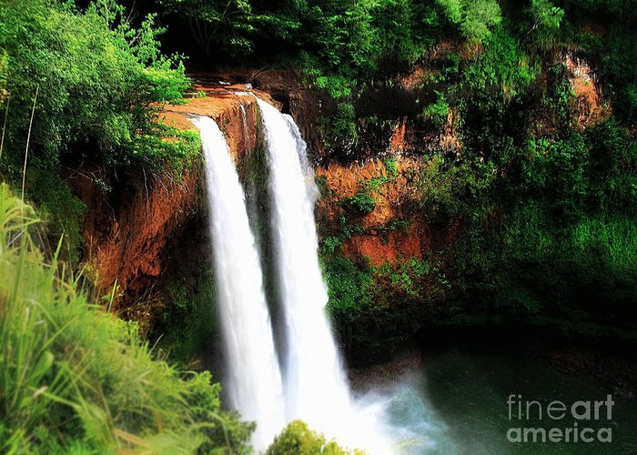 Wailua Falls Greeting Card featuring the photograph Wailua Falls by Kristine Merc