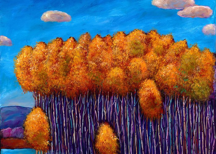 Autumn Aspen Greeting Card featuring the painting Wait And See by Johnathan Harris
