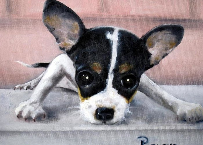 Dog Greeting Card featuring the painting Wait For Me by Beverly Pegasus