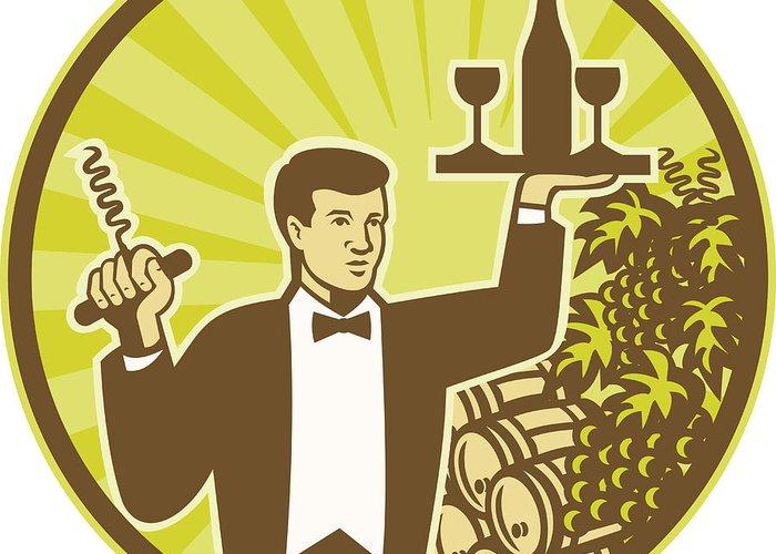 Waiter Greeting Card featuring the digital art Waiter Serving Wine Grapes Barrel Retro by Aloysius Patrimonio