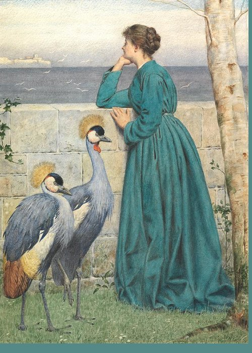 Female Greeting Card featuring the painting Waiting And Watching by Henry Stacey Marks