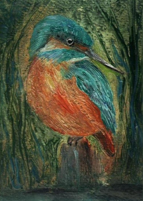 Bird Greeting Card featuring the painting Waiting by Carol Rowland