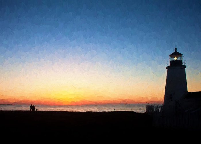 Maine Greeting Card featuring the photograph Waiting For Sunrise At Pemaquid Point Maine by Frank Tozier