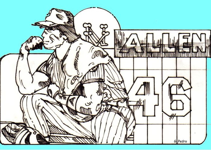 Sports Greeting Card featuring the drawing Waiting For The Call by George Pedro