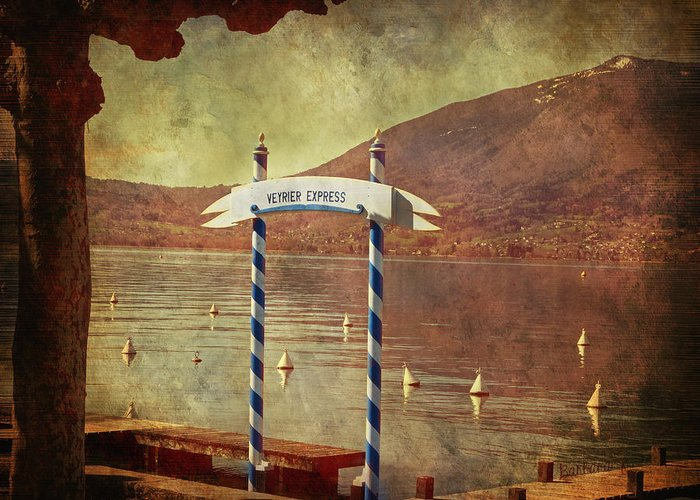 Pier Greeting Card featuring the photograph Waiting For The Taxi Boat by Barbara Orenya