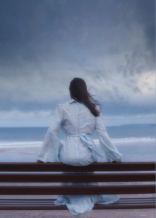 Woman Greeting Card featuring the photograph Waiting In The Wind by Joana Kruse