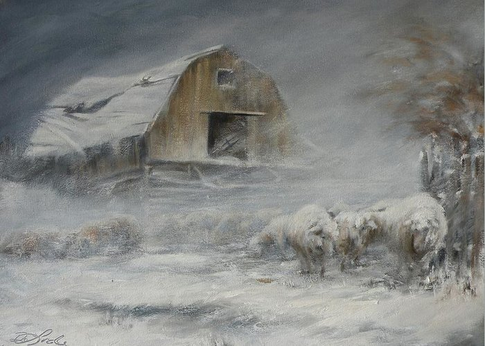 Sheep Greeting Card featuring the painting Waiting Out The Storm by Mia DeLode