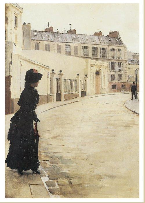 Jean Beraud Greeting Card featuring the painting Waiting Paris Rue De Chanteaubriand by Jean Beraud