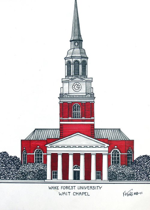 Wake Forest University Buildings Drawings Greeting Card featuring the drawing Wake Forest by Frederic Kohli