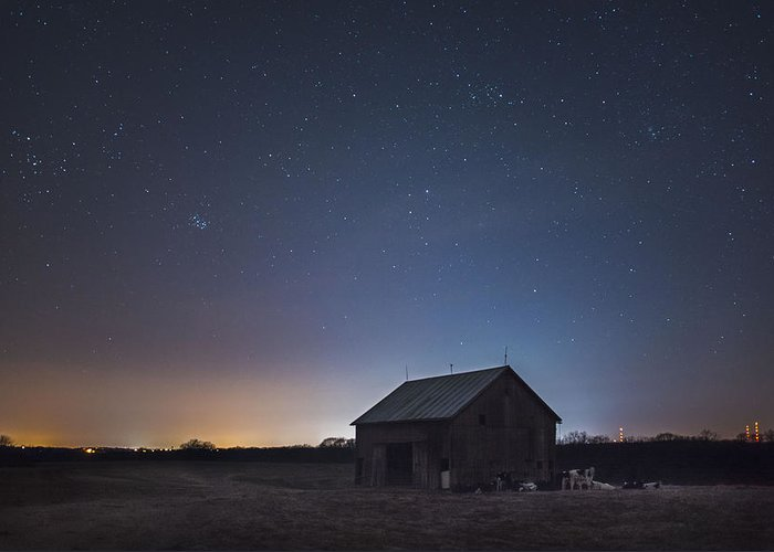 Astrophotography Greeting Card featuring the photograph Waking The Cows by Toni Taylor