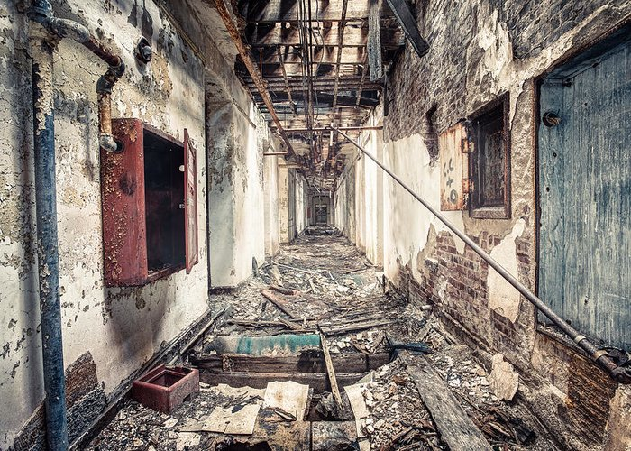 Abandoned Greeting Card featuring the photograph Walk Of Death - Abandoned Asylum by Gary Heller