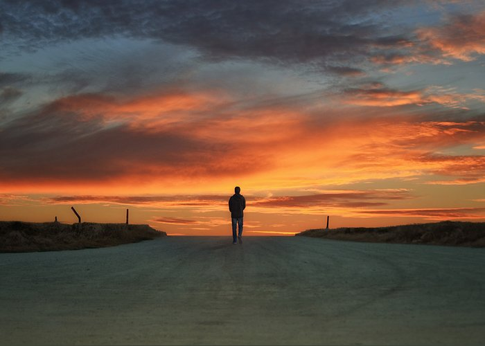 Man Walking Greeting Card featuring the photograph Walk Towards The Light by Steven Michael