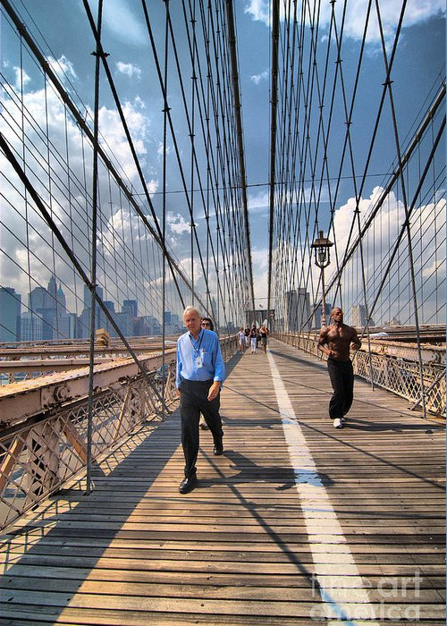 African American Greeting Card featuring the photograph Walkers And Joggers On The Brooklyn Bridge by Amy Cicconi