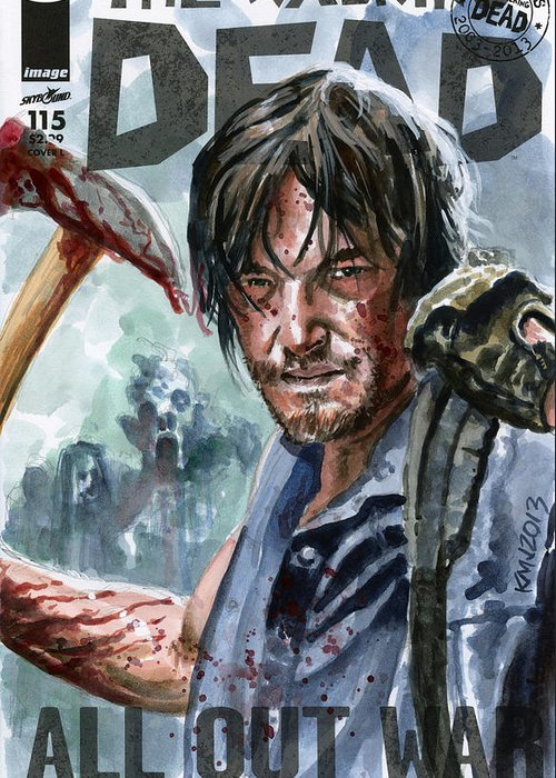 Walking Dead Greeting Card featuring the painting Walking Dead Sketch Cover Daryl by Ken Meyer