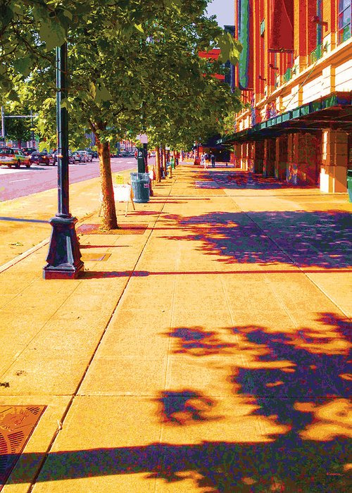 Abstract Greeting Card featuring the digital art Walking To King Street Station Five-o-nine Pm by James Kramer