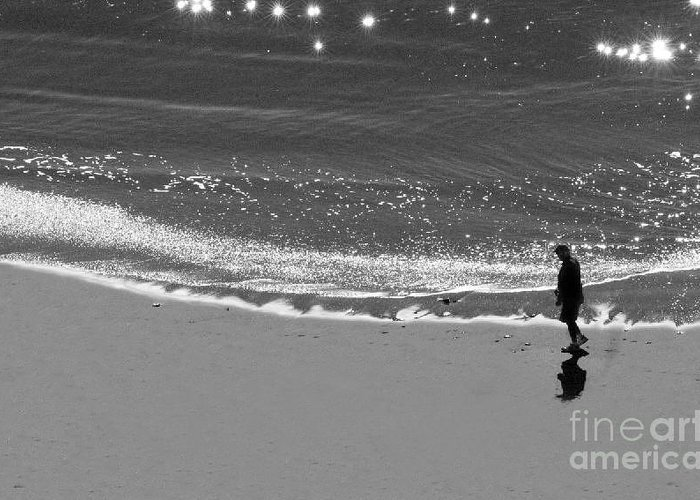 Man Walking On Beach Greeting Card featuring the photograph Walking With God by Artist and Photographer Laura Wrede