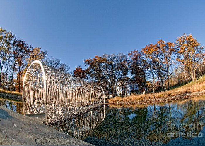 Bridge Greeting Card featuring the photograph Walkway Across The Water by Claudia Kuhn