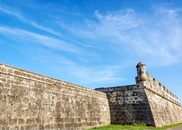 Cartagena Greeting Card featuring the photograph Wall Of Cartagena Colombia by Jess Kraft