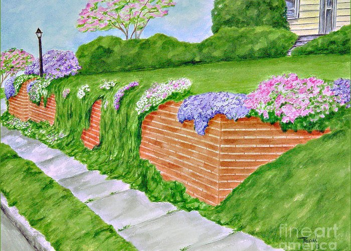Landscape Greeting Card featuring the painting Wall Of Flowers by Regan J Smith