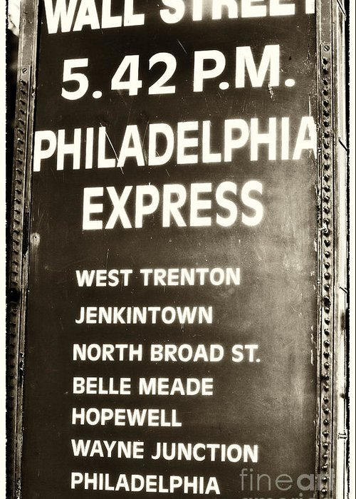 Wall Street Philadelphia Express Greeting Card featuring the photograph Wall Street Philadelphia Express by John Rizzuto