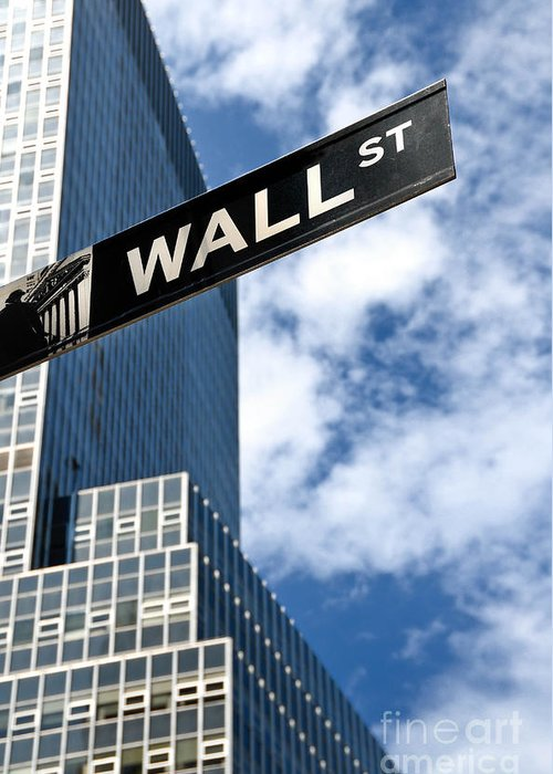 Financial District Greeting Card featuring the photograph Wall Street Street Sign New York City by Amy Cicconi
