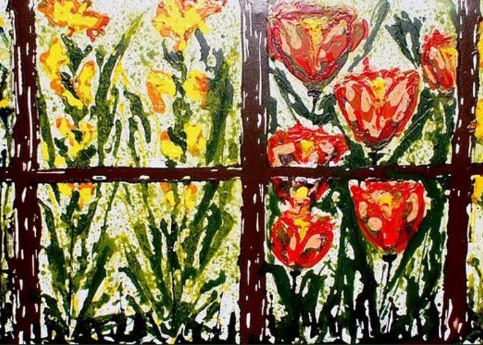 Flowers Greeting Card featuring the painting Walls Of Heavenly Flowers by Baljit Chadha