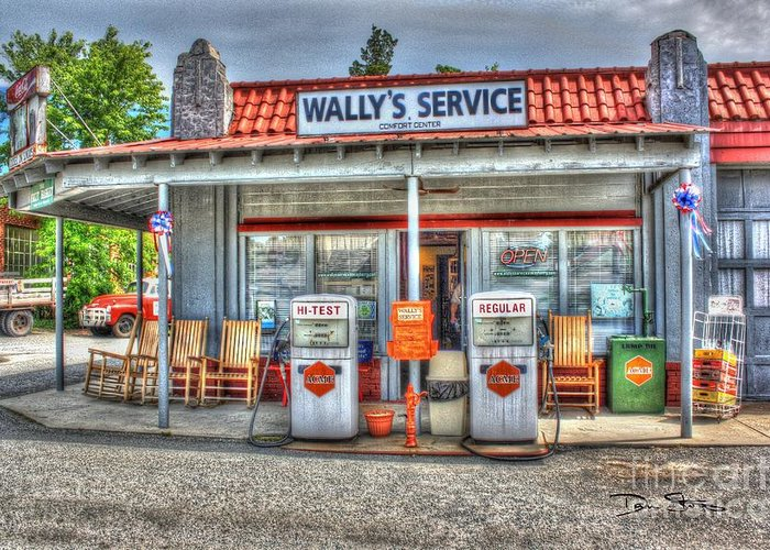 Vintage Greeting Card featuring the photograph Wally's Service Station by Dan Stone