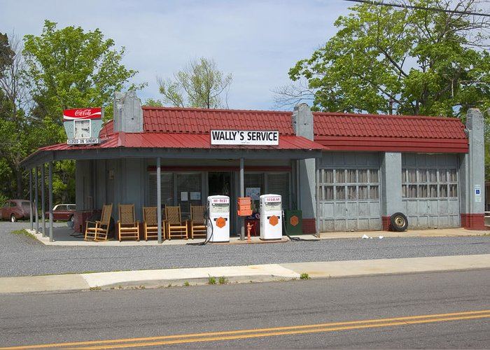 Wallys Service Station Greeting Card featuring the photograph Wallys Service Station Mayberry by Bob Pardue