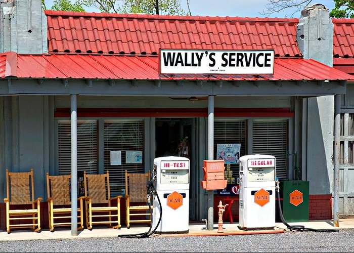 Wally's Service Station Greeting Card featuring the photograph Wally's Service Station Mayberry Nc by Bob Pardue