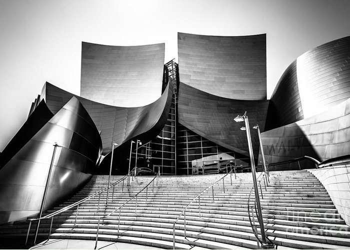 America Greeting Card featuring the photograph Walt Disney Concert Hall In Black And White by Paul Velgos