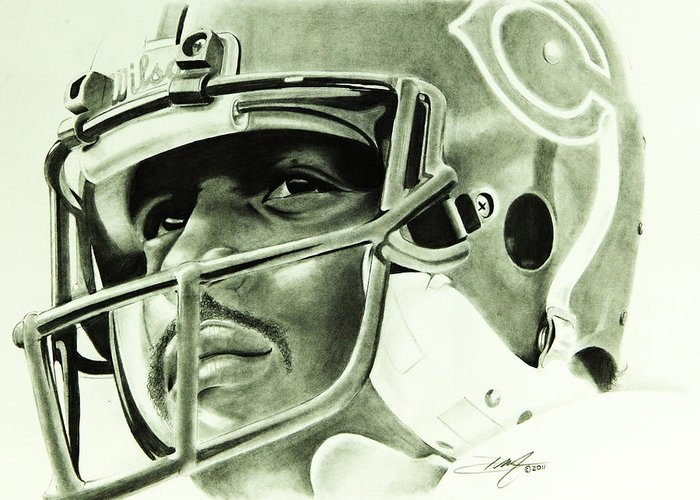 Walter Payton Greeting Card featuring the drawing Walter Payton by Don Medina