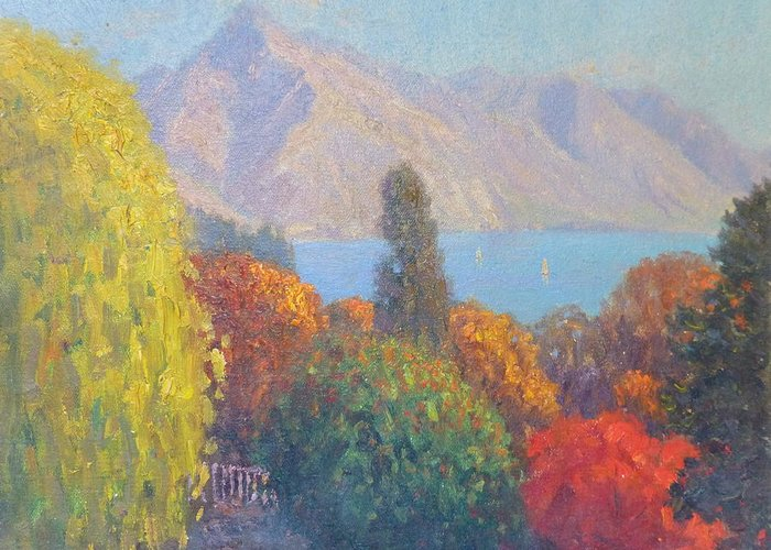 Mountain Greeting Card featuring the painting Walter Peak Queenstown Nz by Terry Perham