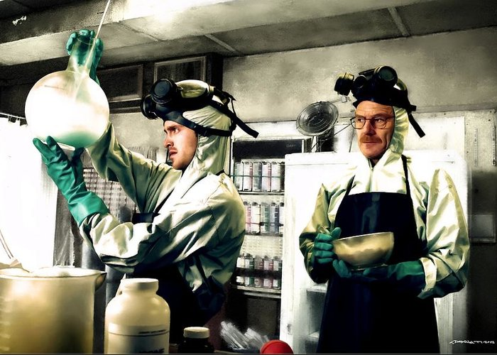 Bryan Cranston Greeting Card featuring the digital art Walter White and Jesse Pinkman by Gabriel T Toro
