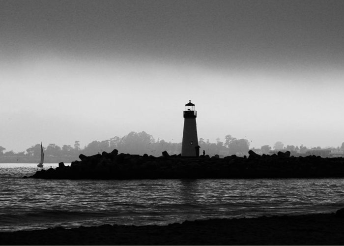 Walton Lighthouse Greeting Card featuring the photograph Walton Lighthouse Bw by Deana Glenz