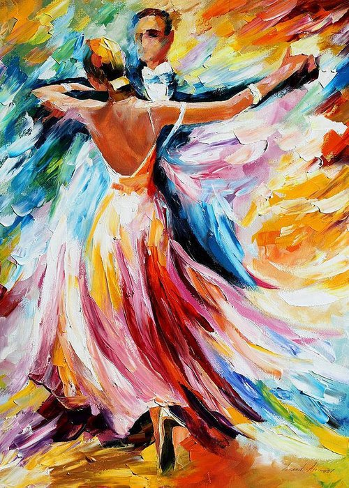 Oil Paintings Greeting Card featuring the painting Waltz - Palette Knife Oil Painting On Canvas By Leonid Afremov by Leonid Afremov