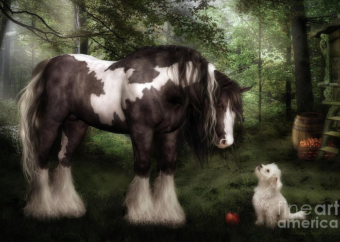 Gypsy Vanner Horse Greeting Card featuring the digital art Want To Play by Shanina Conway