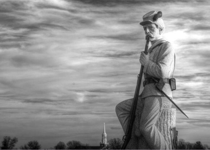 Civil War Greeting Card featuring the photograph War Fighters - 149th Pa Infantry 1st Regiment Bucktail Brigade-a1 Near Mc Pherson Barn Gettysburg by Michael Mazaika