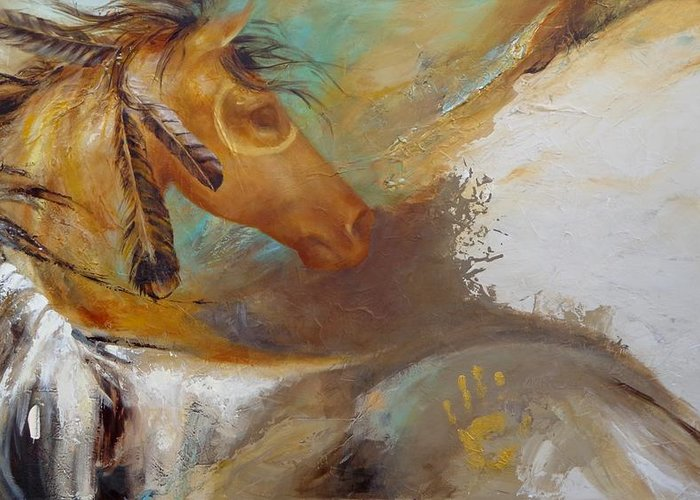 Horse Greeting Card featuring the painting War Pony by Dina Dargo