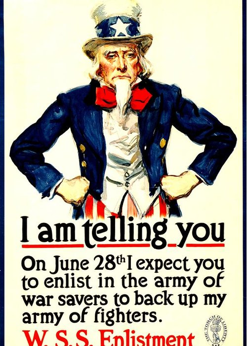 Vintage Greeting Card featuring the photograph War Poster - Ww1 - Uncle Sam Savings by Benjamin Yeager