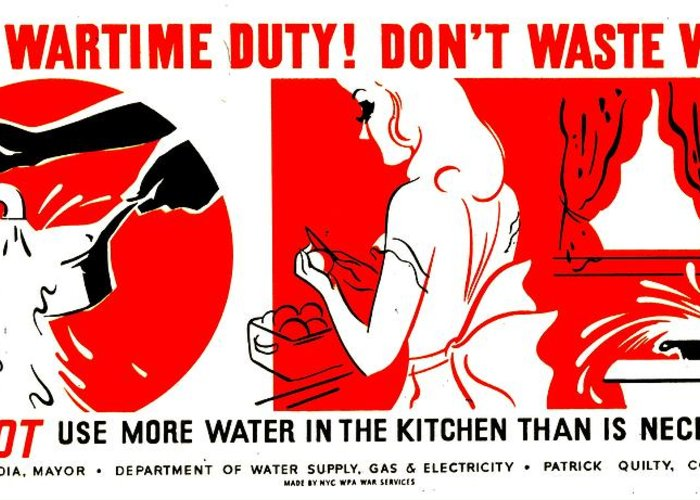 World Greeting Card featuring the photograph War Poster - Ww2 - Dont Waste Water 1 by Benjamin Yeager
